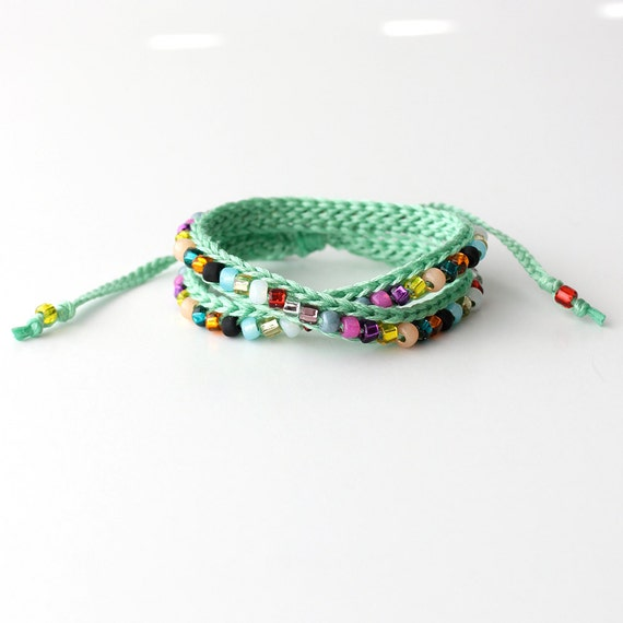 multi colored beaded bracelet sea foam by itsmemary on etsy
