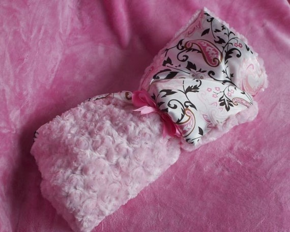 MINKY and SATIN baby BLANKET - Boy, Girl, and neutral color options - CuStOm made to order also available in Lovie size