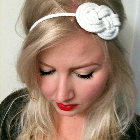 FREE SHIPPING - Forever Summer Collection - Gettin' Knotty - Bright White Sailor Knot Headband on a Stretch Elastic Backing (Large or Small)