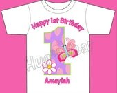 Custom Personalized Birthday Girls Butterfly Garden shirt tee onesie Personalized (any color combination) 3m-24m 2t 3t 4t 5t 6/7/8