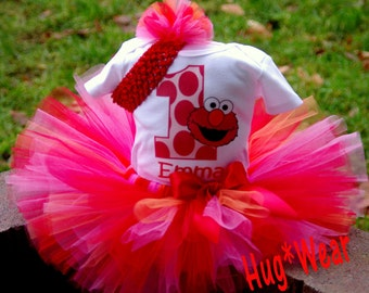 Custom Birthday Elmo Shirt + Tutu Outfit (any age)