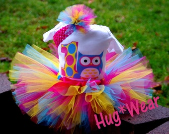 Custom Owl Birthday Shirt + Tutu outfit (any age) hot pink, yellow, Turquoise