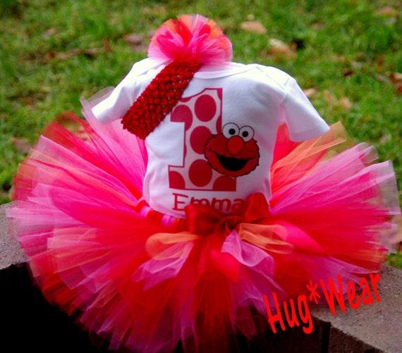 Custom Elmo Birthday tutu.  6m 9m 12m 18m24m  2t 3t 4t 5t