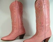 cowboy boots womens 7.5 M B pink acme western cowgirl knee high leather