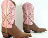 pink cowboy boots womens 5.5 B M vintage pink brown western cowgirl