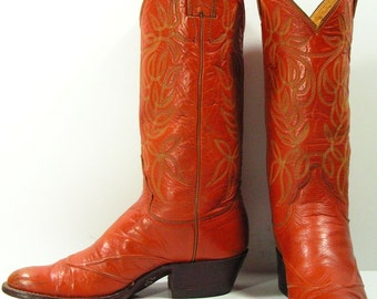 vintage cowboy boots womens 6 A brown Justin western cowgirl vintage leather ladies