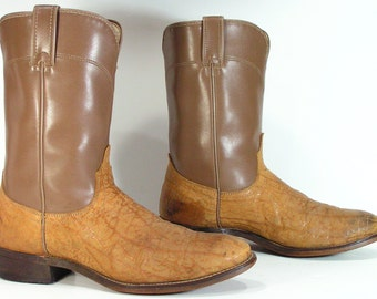 vintage cowboy boots womens 10 m b brown ropers cowgirl mens  8.5 D