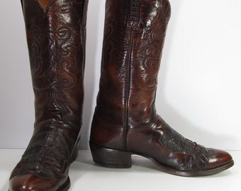 lucchese cowboy boots womens 10 M B brown since 1881 western cowgirl leather
