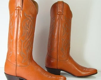 vintage cowboy boots womens 6.5 B M brown vintage leather western cowgirl