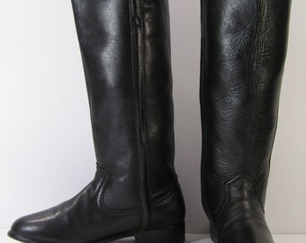 womens cowboy boots 7 b m black vintage equestrian western leather dan post stovepipe vintage