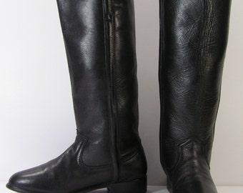 vintage cowboy boots womens 7 b m black equestrian horseback riding western leather dan post stovepipe fashion