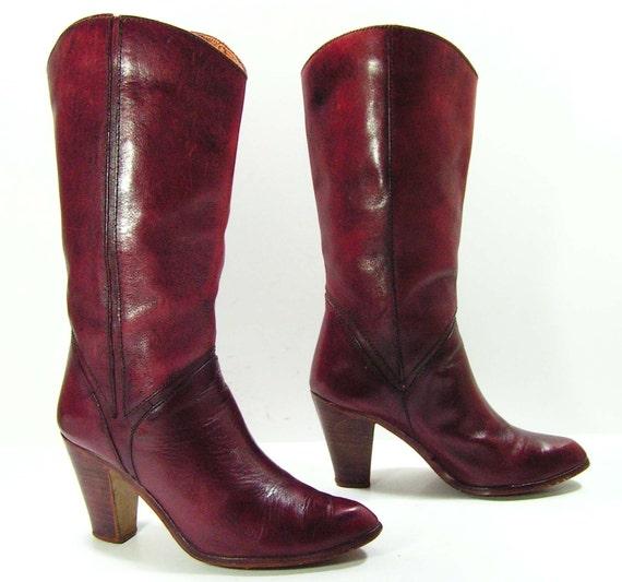 vintage high heel leather cowboy boots womens 7 5 b m burgandy