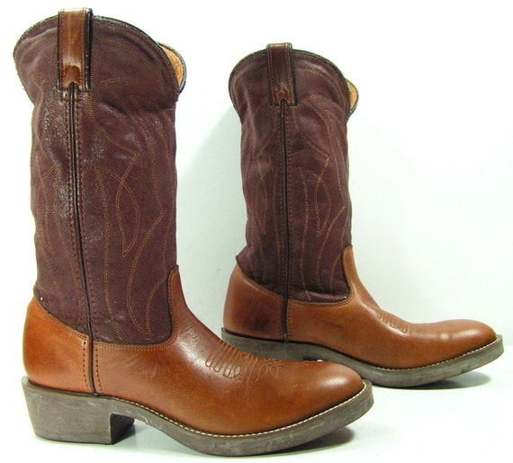 vintage cowboy boots mens 8 d brown steel toe womens 10 m work