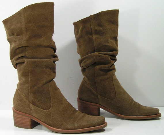 slouch cowboy boots womens 7 5 b m leather suede brown vintage
