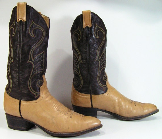 vintage cowboy boots womens 10 M B tan brown larry mahan western cowgirl leather