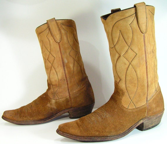 cowboy boots mens 9.5 D brown vintage suede by vintagecowboyboots