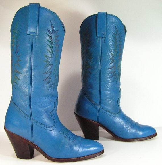 boots womens 9 M B blue western cowgirl leather vintage