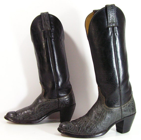 vintage cowboy boots womens 6.5 b m black gray western cowgirl knee high heels