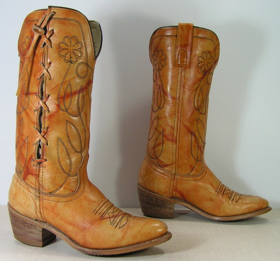 vintage cowboy boots womens 5.5 b m flowers woven leather weave cowgirl western