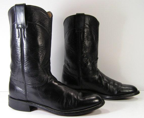 black roper cowboy boots womens 7 b m b vintage leather western cowgirl