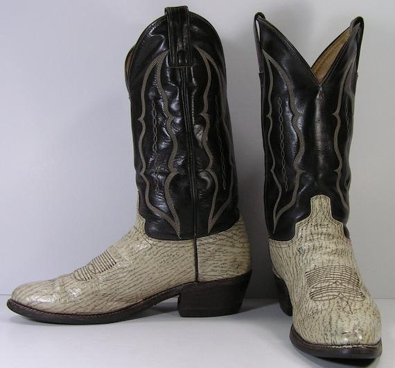 vintage shark skin cowboy boots mens 10 d bone black abilene