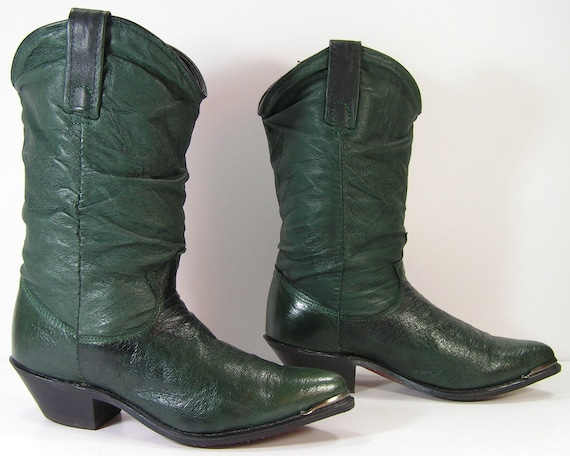 vintage cowboy boots womens 6 m b green slouch pirate dingo