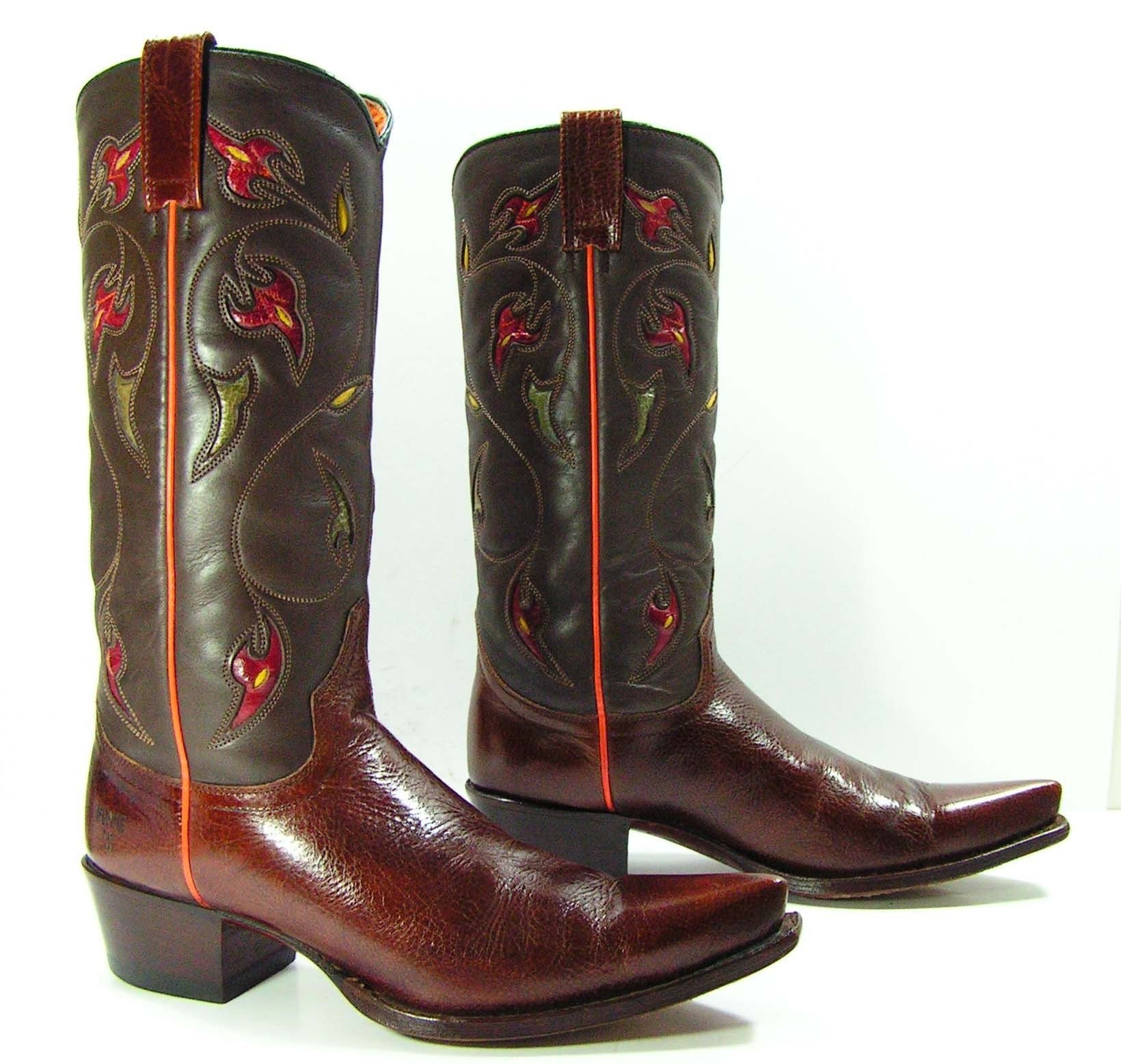 Vintage Frye Cowboy Boots Womens 9 M B Brown Red Gray Yellow