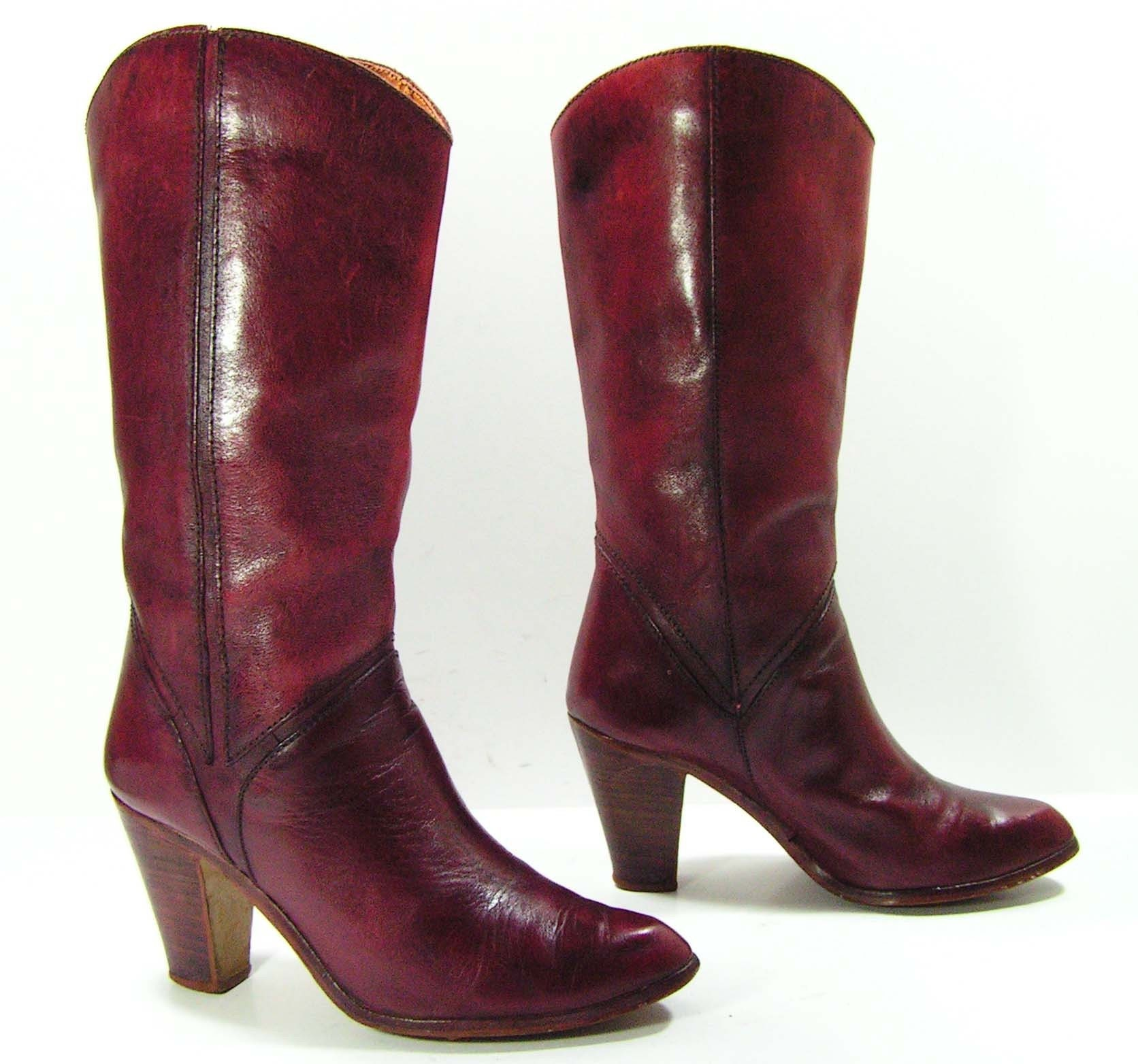 vintage high heel leather cowboy boots womens 7 5 b m burgandy