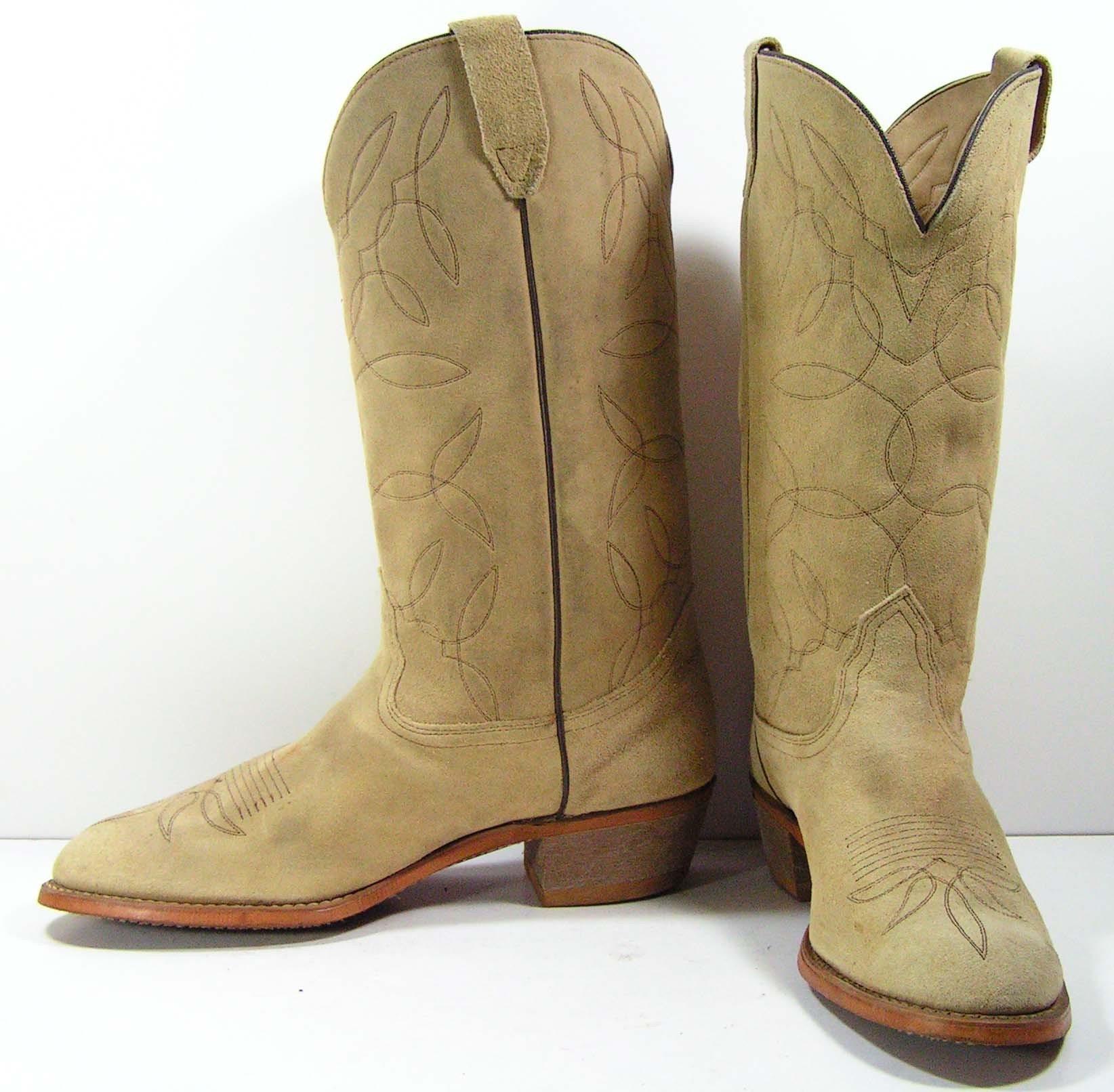 vintage leather suede cowboy boots mens 11 5 d western
