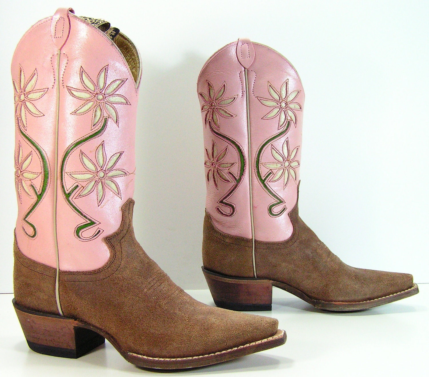 pink cowboy boots womens 5.5 B M vintage by vintagecowboyboots