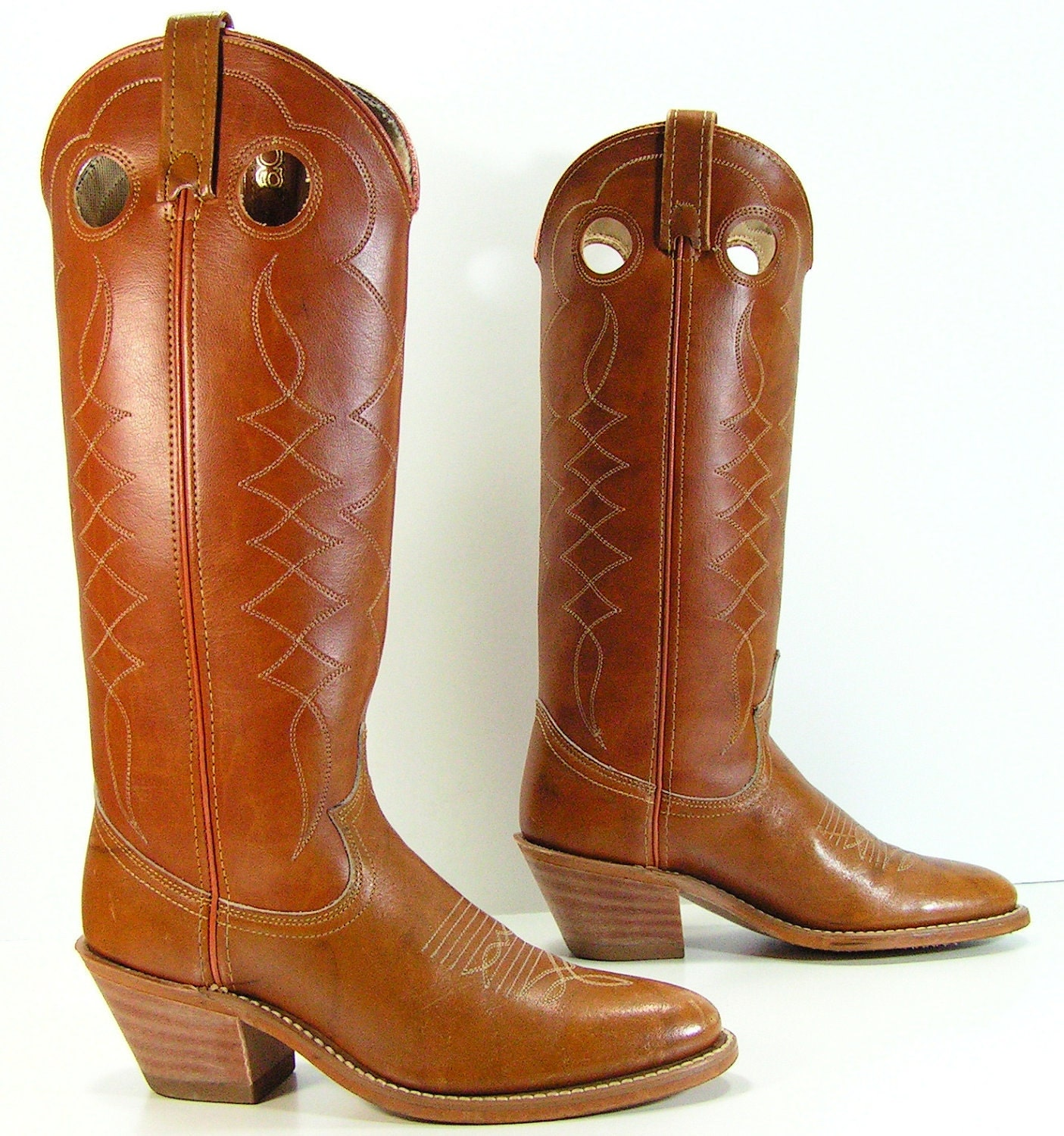 cowboy boots womens 5 m b brown knee high western