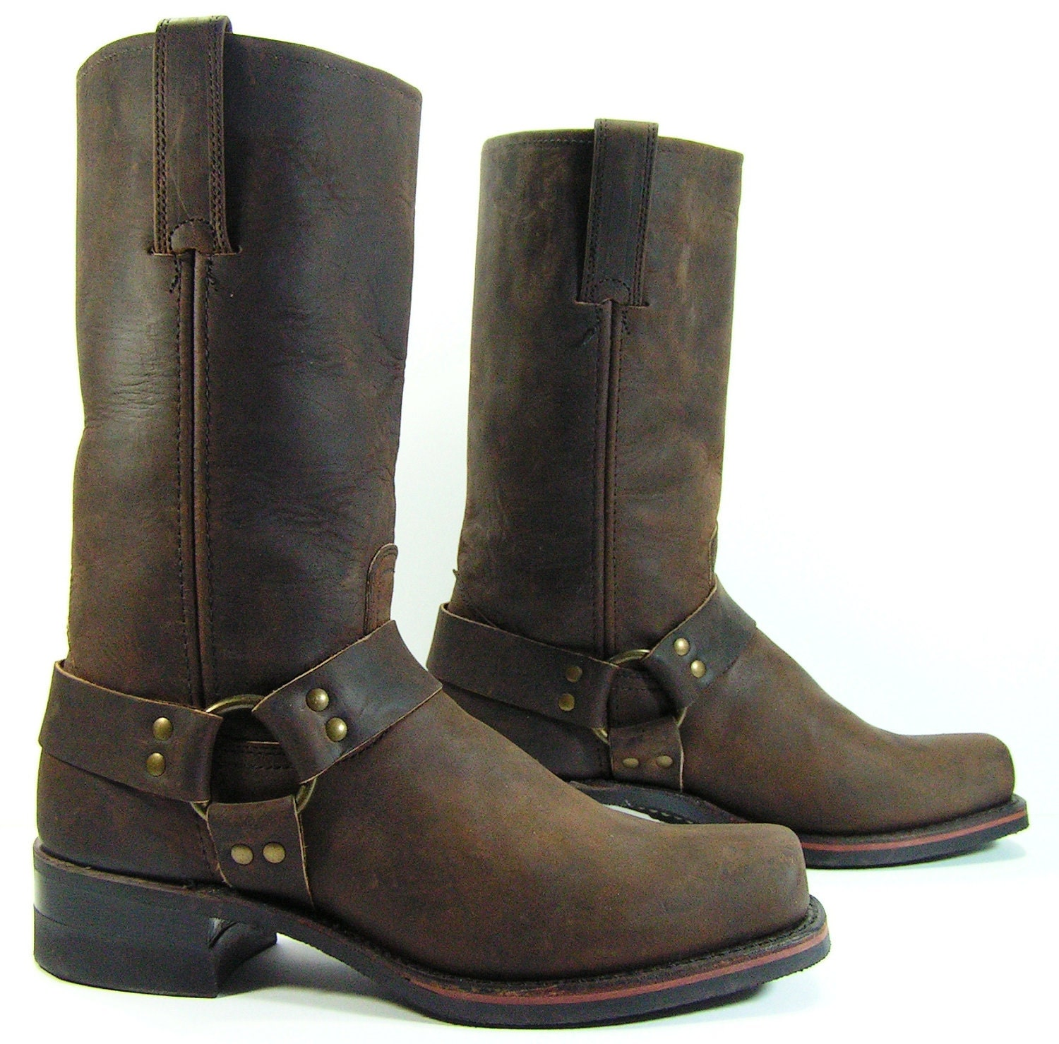 frye harness cowboy boots mens size 10 m d brown western