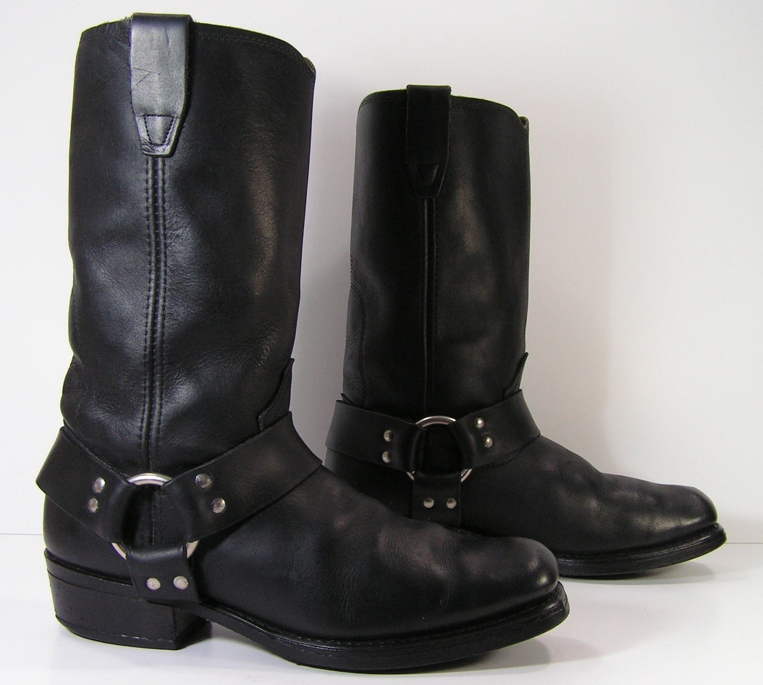 vintage cowboy harness boots womens 9 5 b black leather