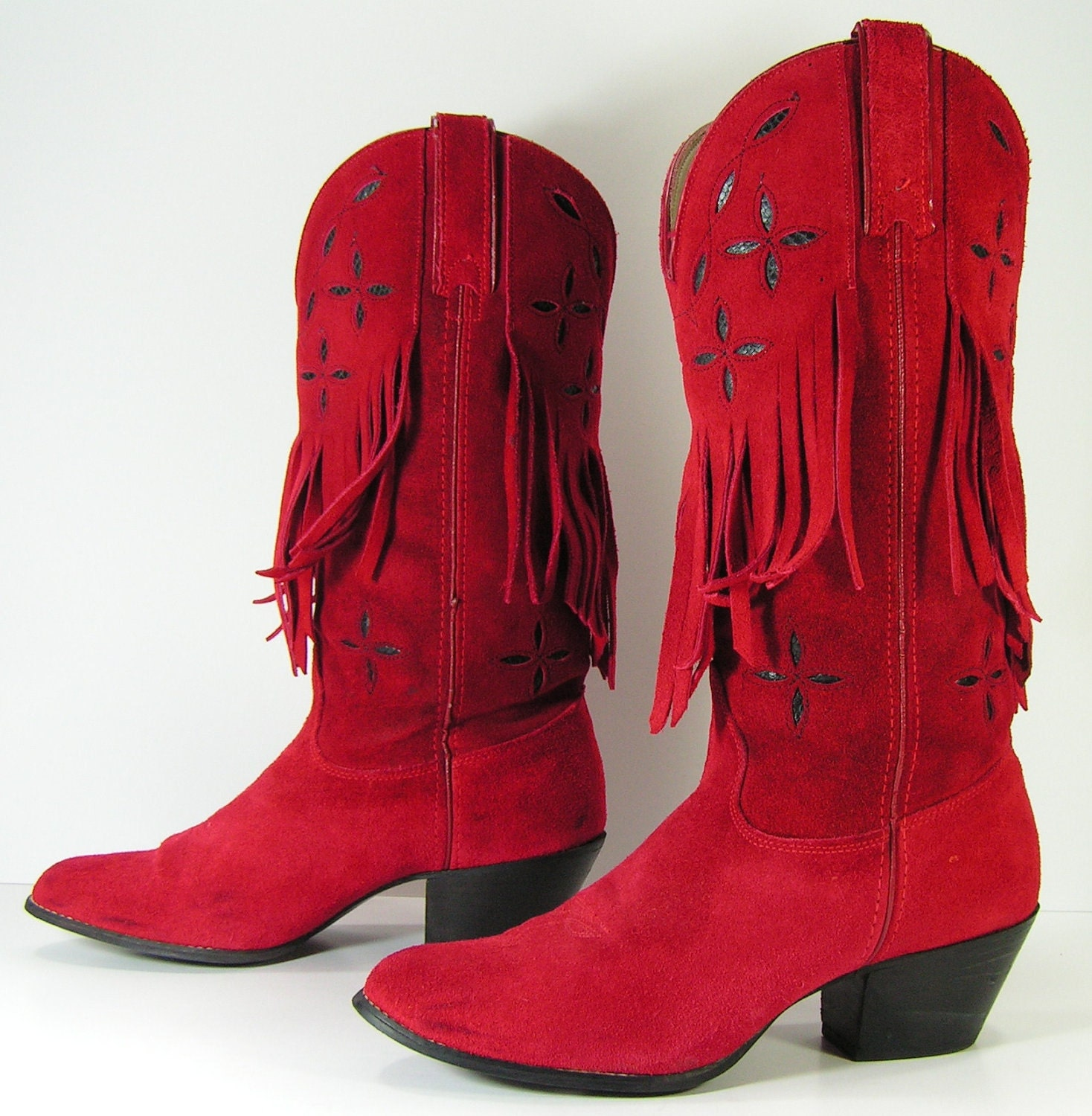 red cowboy boots womens 8 B tassels suede leather fringe