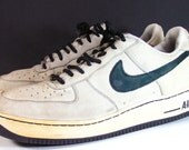 nike air force 1 shoes mens 12 D leather black white sneakers vintage sneakerhead