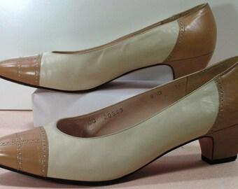 womens 8.5 b salvatore ferragamo dress shoes pumps khaki bone tan leather