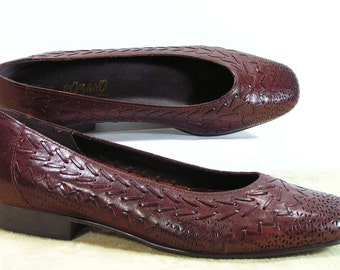 huaraches womens 7 b m brown leather shoes woven weave loafers vintage romano