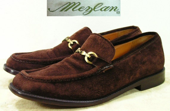 Mezlan dress shoes mens 10.5 D M brown horsebit loafers leather suede