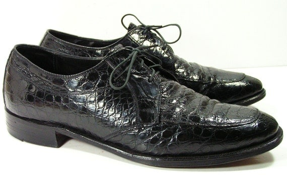 Mens Dress Shoes 8 D Alligator Nunn Bush Black Leather
