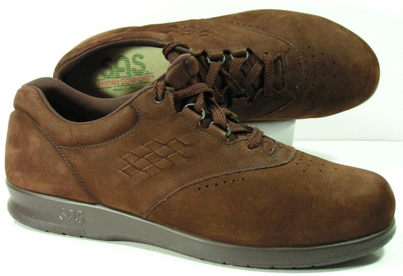 sas free time shoes womens 9 5 m b brown leather suede walking