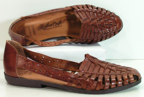 woven leather shoes womens 7 5 b m flats weave sandals