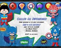 Super Hero Invitation-Digital File