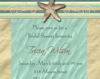 Classic Beach Shower Invitation or Save the Date-Digital File