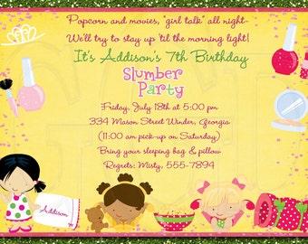 Slumber Party Invitation Pajama Party  -Digital File