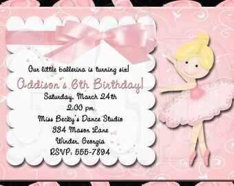 Ballet Invitation Birthday-Digital File