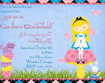 Alice in Wonderland Inspired Birthday Invitation-Digital File