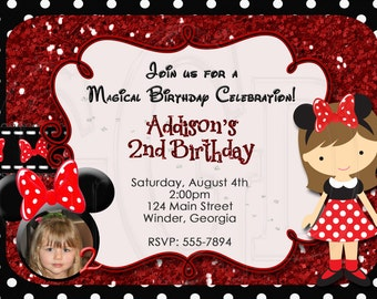 Minnie Mouse Invitation  Birthday Invite-Photo-Digital File