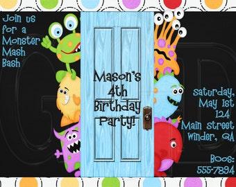 Monster Birthday Invitation-Digtial File
