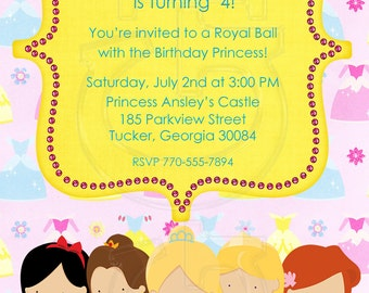 Princess Birthday Invitation Disney Inspired-Digital File