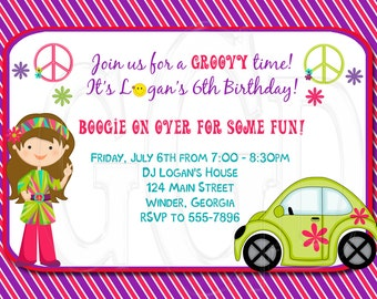 70's Groovy Hippy Birthday Invitation-Digital File
